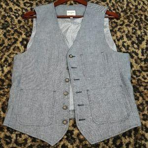 Linen Mens Vest Blue Murano New M Hipster Pockets
